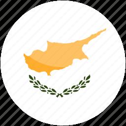 circle, cyprus, flag, gloss icon