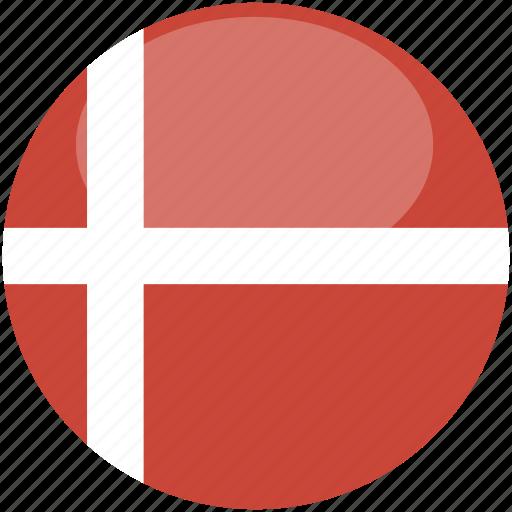 circle, denmark, flag, gloss icon