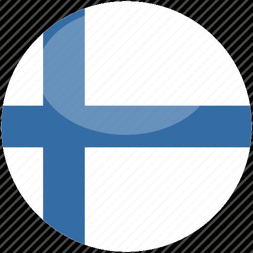 circle, finland, flag, gloss icon