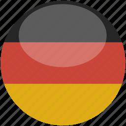 circle, flag, germany, gloss icon