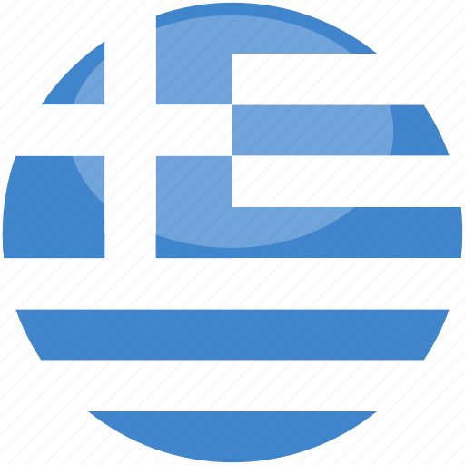 circle, flag, gloss, greece icon