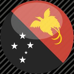 circle, flag, gloss, guinea, new, papua icon