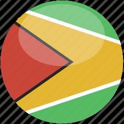 circle, flag, gloss, guyana icon