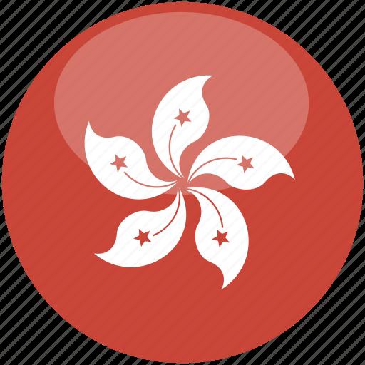 circle, flag, gloss, hongkong icon