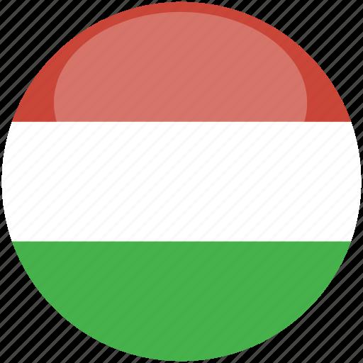 circle, flag, gloss, hungary icon