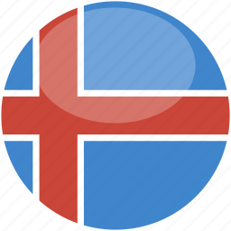 circle, flag, gloss, iceland icon