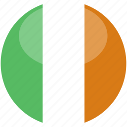 circle, flag, gloss, ireland icon