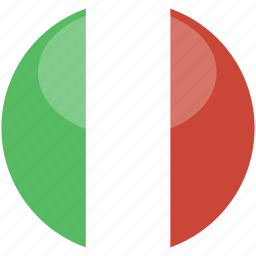 circle, flag, gloss, italy icon