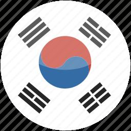 circle, flag, gloss, korea, south icon