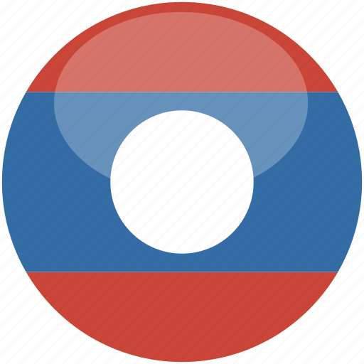 circle, flag, gloss, laos icon