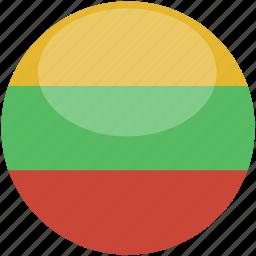 circle, flag, gloss, lithuania icon