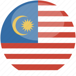 circle, flag, gloss, malaysia icon