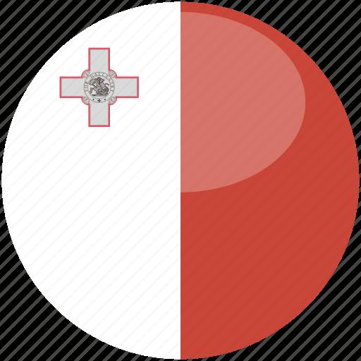 circle, flag, gloss, malta icon
