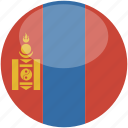 circle, flag, gloss, mongolia icon