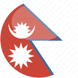 circle, flag, gloss, nepal icon