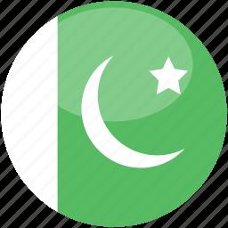 circle, flag, gloss, pakistan icon