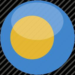 circle, flag, gloss, palau icon