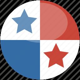 circle, flag, gloss, panama icon