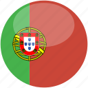 circle, flag, gloss, portugal icon