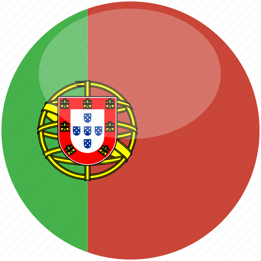 circle, flag, gloss, portugal icon