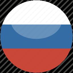 circle, flag, gloss, russia icon