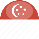 circle, flag, gloss, singapore icon