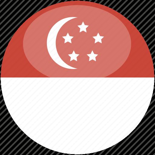 circle, flag, gloss, singapore icon