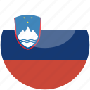 circle, flag, gloss, slovenia icon