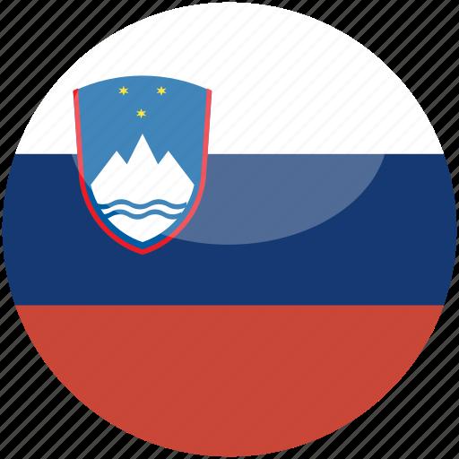 circle, flag, gloss, slovenia icon