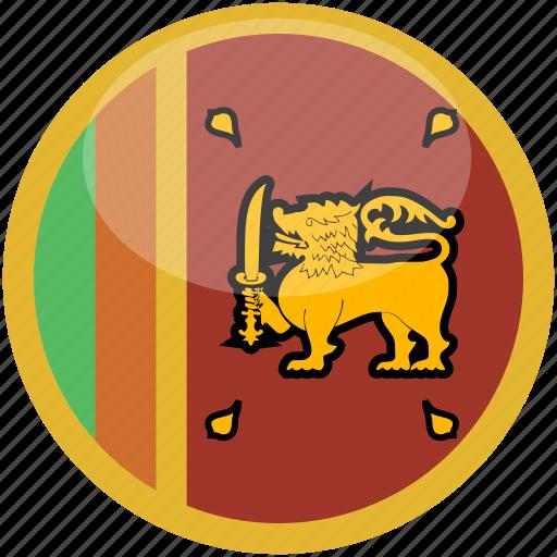 circle, flag, gloss, srilanka icon