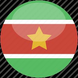 circle, flag, gloss, suriname icon