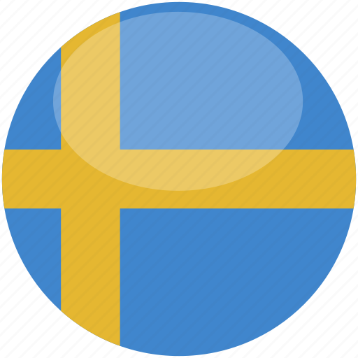 circle, flag, gloss, sweden icon