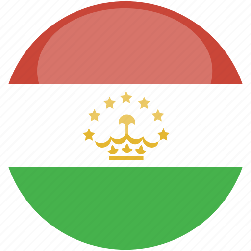 circle, flag, gloss, tajikistan icon
