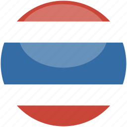 circle, flag, gloss, thailand icon