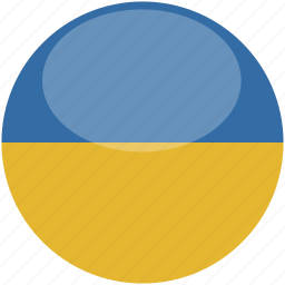 circle, flag, gloss, ukraine icon