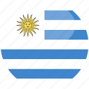 circle, flag, gloss, uruguay icon