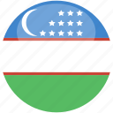 circle, flag, gloss, uzbekistan icon
