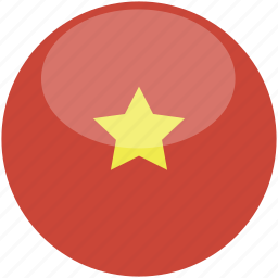 circle, flag, gloss, vietnam icon