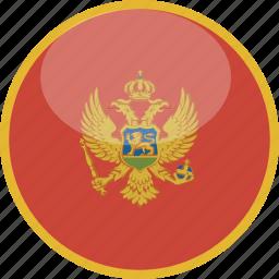 circle, flag, gloss, montenegro icon