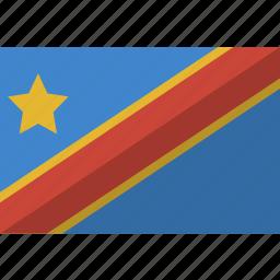 congo, country, democratic, flag, nation, republic icon