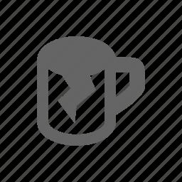 broken, cup, repairing icon