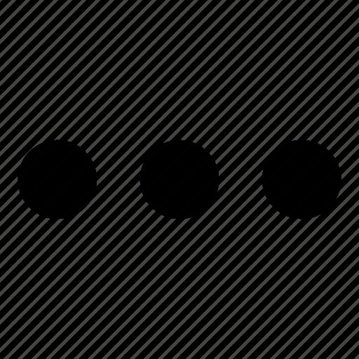 list, menu, more, options, three circles icon