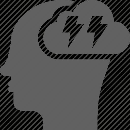 brainstorming, bulb, creative, head, idea, light, smart icon