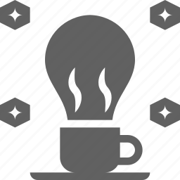 bulb, caffeine, coffee, cup, energy, fresh, idea, light icon