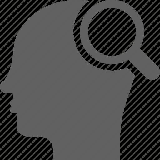 head, idea, intelligent, magnifying, search, seo, smart icon