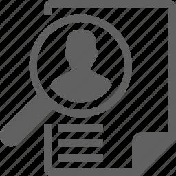 job, man, profile, search, user icon