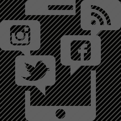facebook, instagram, mobile, smartphone, social media, twitter icon