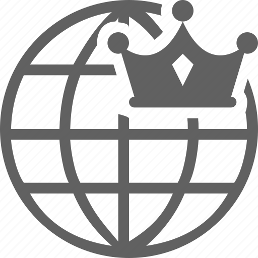 branding, crown, globe, online icon