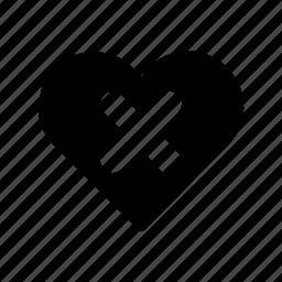 cross, dislike, fail, hate, heart, unlike icon