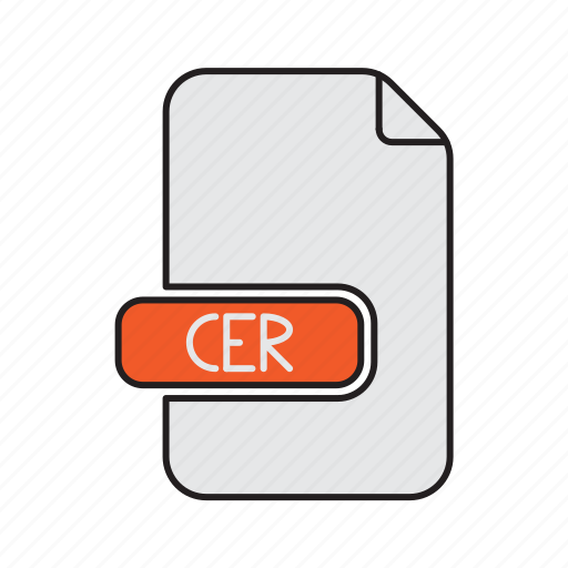 cer, certificate, extension, keychain, mac, type icon